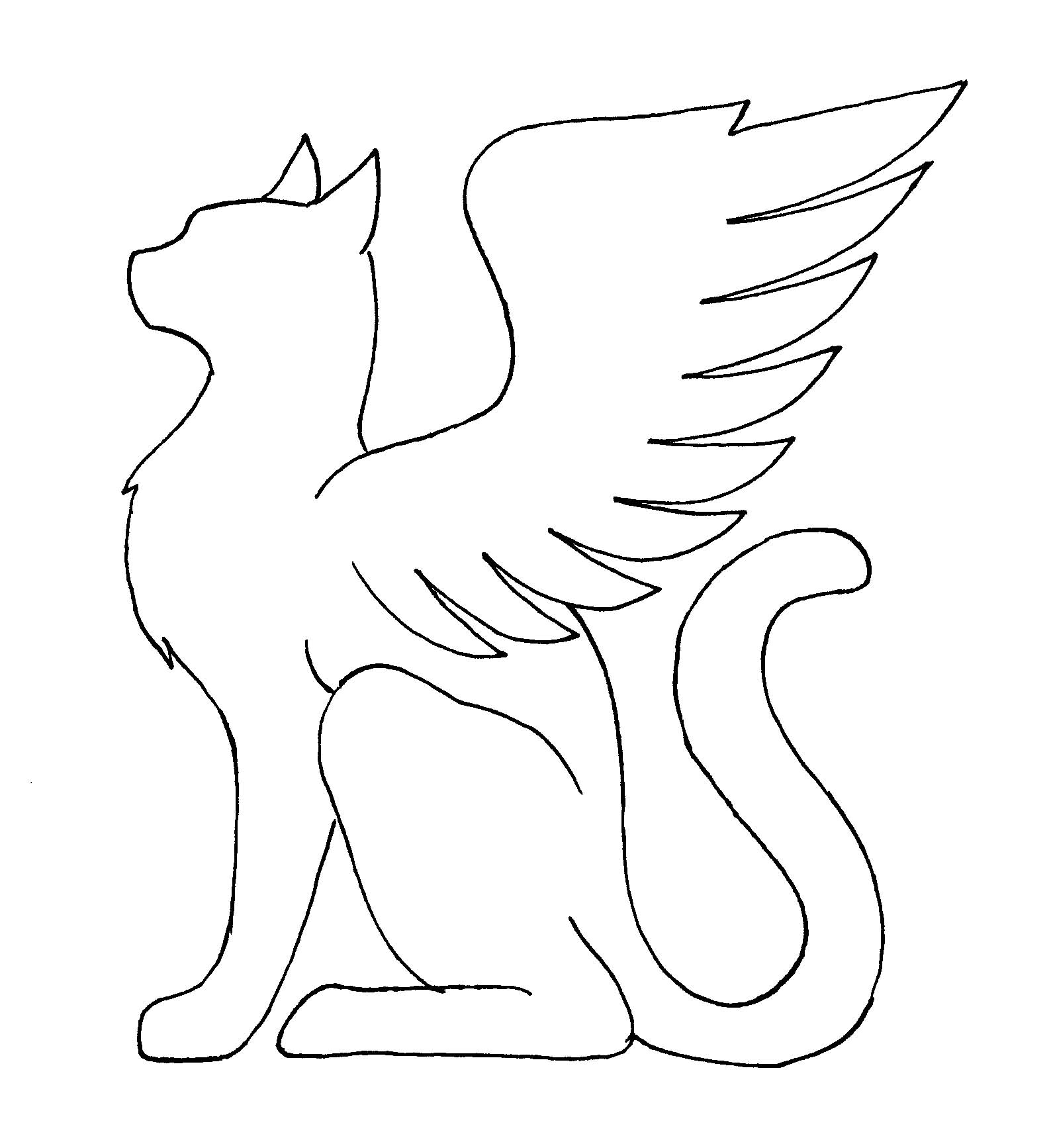 It is an image of Dynamic Cat With Wings Coloring Pages